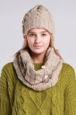 Womens Plain Buttons Design Thick Warm Knitted Hat & Scarf Khaki