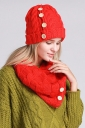 Womens Plain Buttons Design Thick Warm Knitted Hat & Scarf Set Red