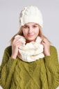 Womens Plain Buttons Design Thick Warm Knitted Hat & Scarf White
