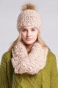 Womens Plain Pom Pom Thick Warm Hand Knit Hat & Scarf Set Beige White