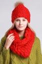 Womens Plain Pom Pom Thick Warm Hand Knitted Hat & Scarf Set Red