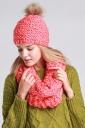 Womens Plain Pom Pom Warm Hand Knitted Hat & Scarf Set Watermelon Red