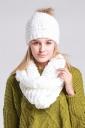 Womens Plain Pom Pom Thick Warm Hand Knitted Hat & Scarf Set White