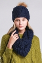 Womens Plain Pom Pom Thick Warm Hand Knitted Hat & Scarf Set Navy Blue