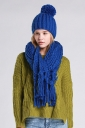 Womens Plain Fringed Thick Warm Cable Knit Hat & Scarf Set Blue