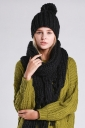 Womens Plain Fringed Thick Warm Cable Knit Hat & Scarf Set Black