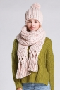 Womens Plain Fringed Thick Warm Cable Knit Hat & Scarf Set Beige White