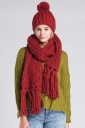 Womens Plain Fringed Thick Warm Cable Knit Hat & Scarf Set Red