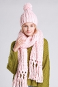 Womens Plain Fringed Thick Warm Cable Knit Hat & Scarf Set Pink