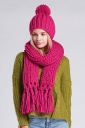 Womens Plain Fringed Thick Warm Cable Knit Hat & Scarf Set Rose Red