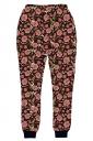 Womens Floral 3D Digital Print Leisure Harem Sweatpants Pink