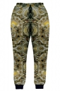 Womens Vintage Pattern 3D Print Leisure Harem Sweatpants Gold
