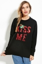 Womens Crewneck Letters Sequined Christmas Pullover Sweater Black