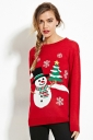 Womens Crewneck Snowman Snowflake Print Christmas Pullover Sweater Red