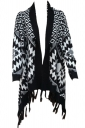 Womens Stylish Plaid Fringe Shawl Scarf Black