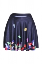 Womens Stylish Tetris Digital Print Elastic Waist Mini Skirt Black