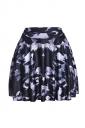 Womens Stylish Graffiti Digital Print Elastic Waist Mini Skirt Black