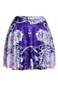 Womens Stylish Floral Digital Print Elastic Waist Mini Skirt Navy Blue