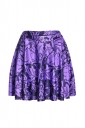 Womens Stylish Rabbit Digital Print Elastic Waist Mini Skirt Purple