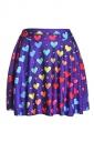 Womens Love Heart Digital Print Elastic Waist Mini Skirt Purple