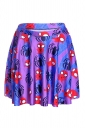 Womens Stylish Spider Digital Print Elastic Waist Mini Skirt Purple