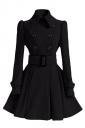 Womens Plain Turndown Collar Double-Breasted Sash Woolen Coat Black