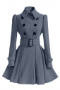 Womens Plain Turndown Collar Double-Breasted Sash Woolen Coat Gray
