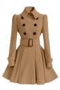 Womens Plain Turndown Collar Double-Breasted Sash Woolen Coat Khaki