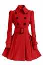 Womens Plain Turndown Collar Double-Breasted Sash Woolen Coat Red