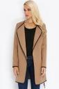 Womens Stylish Plain Long Sleeve Turndown Collar Trench Coat Khaki