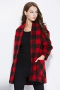 Womens Stylish Plaid Pattern One Buckle Medium-long Woolen Coat Red