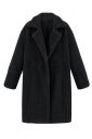 Womens Plain Long Sleeve Turndown Collar Medium-long Overcoat Black
