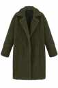 Womens Plain Long Sleeve Turndown Collar Medium-long Overcoat Green