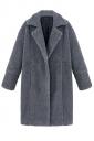 Womens Plain Long Sleeve Turndown Collar Medium-long Overcoat Gray