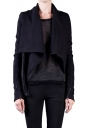 Womens Long Sleeve Zipper PU Leather Spliced Woolen Coat Black