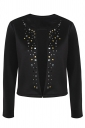 Womens Stylish Long Sleeve Rivets Cardigan Jacket Black