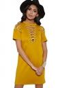 Womens Sexy Plain Short Sleeve Lace Up Shift Dress Yellow