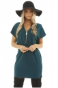 Womens Stylish Plain Zipper V-Neck Short Sleeve Shift Dress Turquoise