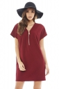 Womens Stylish Plain Zipper V-Neck Short Sleeve Shift Dress Ruby