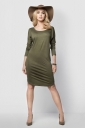 Womens Loose Scoop Neck Long Sleeve Shift Dress Green