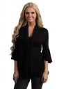 Womens Casual Plain 3/4 Length Ruffle Sleeve Trench Coat Black
