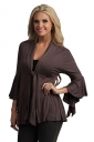 Womens Casual Plain 3/4 Length Ruffle Sleeve Trench Coat Brown