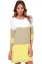 Womens Casual Color Blocking Half Sleeve Shift Dress Yellow