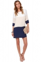 Womens Casual Color Blocking Half Sleeve Shift Dress Navy Blue