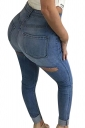 Womens Sexy Bleach Wash High Waisted Cut Out Jeans Blue