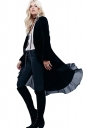 Womens Vintage Plain Ruffle Trim Long Sleeve Trench Coat Black
