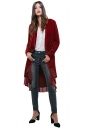 Womens Vintage Plain Ruffle Trim Long Sleeve Trench Coat Ruby