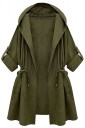Womens Plain Hooded Drawstring Waist Trench Coat Green