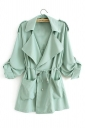 Womens Plain Turndown Collar Drawstring Waist Trench Coat Light Green