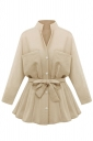 Womens Stand Collar Long Sleeve Pockets Plain Trench Coat Khaki